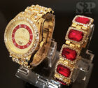 MEN HIP HOP ICED OUT GOLD PT RICK ROSS BIG CZ WATCH & RUBY BRACELET COMBO SET  image