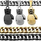 1 Solid Curb Chain Necklace Steel + Pendant Boxing Glove Men Sport Black Silver