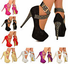 LADIES PLATFORM HIGH HEELS SPARKLY DIAMANTE STUD ANKLE STRAP PARTY SHOES 3-10