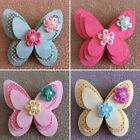Handmade Triple Layer Butterfly & Flower Hair Bow Barrette French Clip