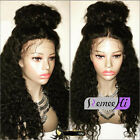 New Loose Curly Brazlian Remy Human Hair Full Head  Front Lace Wigs Baby Hair