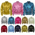 LADIES MA1 SATIN LIGHTWEIGHT ARMY FLIGHT BOMBER BIKER WOMENS RETRO SUMMER JACKET