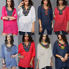 PLUS SIZE Women Cotton Short Sleeve Embroidery Loose Tee Shirt Casual Blouse Top
