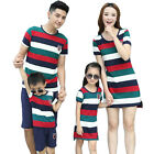 Family Outfits clothes striped mother Girl dresses father boy t shirt pants sets