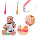 New Silicone Baby Feeding Spoon Soft Weaning Handle Baby Girl Boy  2 Colour UK