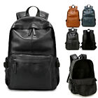 Men's Faux Leather Backpack Rucksack Laptop bag College School Book bag Travel