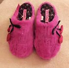 Betsey Johnson slippers scuff faux fur fuzzy sequin heart pink S or XL NWT