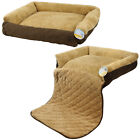 ME & MY PET QUILTED BROWN FLEECE FOLD OUT CAT/DOG BED SOFA/COUCH/CHAIR PROTECTOR
