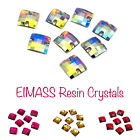 EIMASS® Sew or Glue on Resin Crystals, Flat Back Square Shape Gems for Costumes