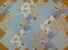 COTTON FABRIC PATCHWORK SQUARES PIECES CHARM PACK 4 & 5 INCH ~ TEDDIES BLUE