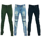 Men's Premium Distressed Stretch Slim Biker Jeans