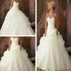 New Stock White Ivory Beading Organza Bridal Gown Long Ball Gown Wedding Dresses