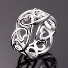 Charm 925 Sterling Silver Filled Ring Womens Fashion Jewellery Size Q 30 Style