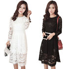 Women's Summer Sexy Lace Floral Casual Evening Cocktail Party Long Sleeve Dress