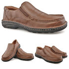Mens New Brown Leather Wide Fit Casual Comfort Twin Gusset Slip On Shoes 6 - 12