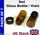 5ml Brown Glass Vial Bottles  with screw top lids   - UK Stock