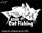 Gone Cat Fishing Decal Funny Car Window Laptop Sticker