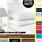 """EXTRA DEEP SIZE 16""""/40 CM FITTED PERCALE SINGLE,DOUBLE, KING, SUPER KING SHEETS image"""