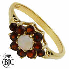 BJC® 9ct Yellow gold Garnet & Opal Round Cluster Dress Ring size I i ring R129