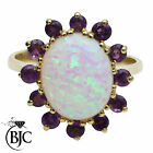 BJC® 9ct Yellow gold Opal & Amethyst Cluster size O engagement ring R239