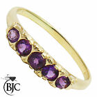 BJC® 9ct Yellow gold Amethyst Gypsy Graduated 5 Stone engagement ring R263