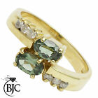 BJC® 9ct Yellow gold Green Amethyst & Diamond Accented Twin Solitaire ring R267