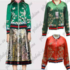 Spring Green flower embroidered satin baseball Bomber jacket Coat Embroidery