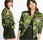 NEW SS16 LADIES VINTAGE CAMOUFLAGE PADDED BOMBER JACKET ARMY MILITARY BADGES