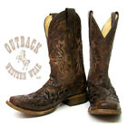 Corral Men's Chocolate Python Inlay Square Toe Boots A2160