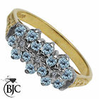 BJC® 9ct Yellow gold Blue Topaz & Diamond Cluster size N engagement ring R203
