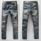 #389 Mens High quality Ripped Frayed Distressed Long Jeans Pants Slim Trousers