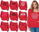 60 DESIGNS Mother's Day Off Shoulder Slouchy Sweatshirt Pocket Mom Gift RED-4