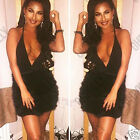 Womens Low Plunge Fur Skirt Ladies Party Going Out Evening Mini Dress