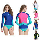 Multi-color Women Long Sleeve Spliced Rash Surf Wetsuit T-Shirt UV Protection US