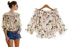 Fashion Pink Floral Off Shoulder Half Sleeve Chiffon Blouse Women Tops Shirt