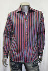 Men's RUFUS Pinstripe Black/Red/Silver/R.Blue Long Sleeve Button Down Shirts