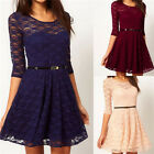 Ladies Belted Lace Shift Skater Womens 3/4 Sleeve Cocktail Knee Length Dress Top