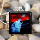 """HOWLING WOLF SUNSET"" WOLF LOVER COYOTE DOG GLASS PENDANT NECKLACE KEYRING"