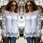 Fashion Ladies Embroidery Lace Long Sleeve Top Blouse Shirt T-shirt UK Size 6-22