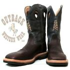 Twisted X Men's Brown Blue Oil Rig Lite Square Steel Toe Work Boots MLCS006