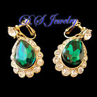 Colourful Carved Water Drop Shape Pendant Earrings Clip On