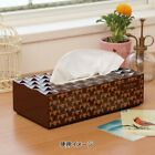 DISNEY Mickey Box Tissue Case Cover Jacket Bathroom Brown Made in Japan E1298