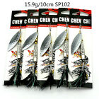 Lot 5pcs metal spinner spoon sequin fishing baits bass feather hook lures tackle