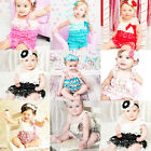 Cute Baby Girls Toddler Kids Lace Petti Ruffle Romper Jumpsuit with Strap 0~3Y