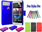 PU Leather Side Open Book Flip Wallet ID Case Cover Holder For HTC ONE Mini UK