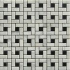 "Pinwheel 12""x12"" Carrara White and Black Dot Honed Mosaic ($15.00 per Sheet)"