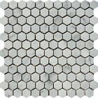 "White Carrara 1"" Hexagon Italian Marble Honed Mosaic. ($12.00 Per Sheet)"