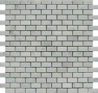 "White Carrara 1 1/4""x5/8"" Mini Brick Marble Polished Mosaic. ($12.00 Per Sheet)"