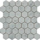 "White Carrara 2"" Hexagon Italian Marble Honed Mosaic. ($12.00 Per Sheet)"
