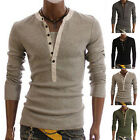 Kyпить Men V-neck Button Front Long Sleeve Casual Slim Fit T-Shirt Tops Tee Fashion на еВаy.соm